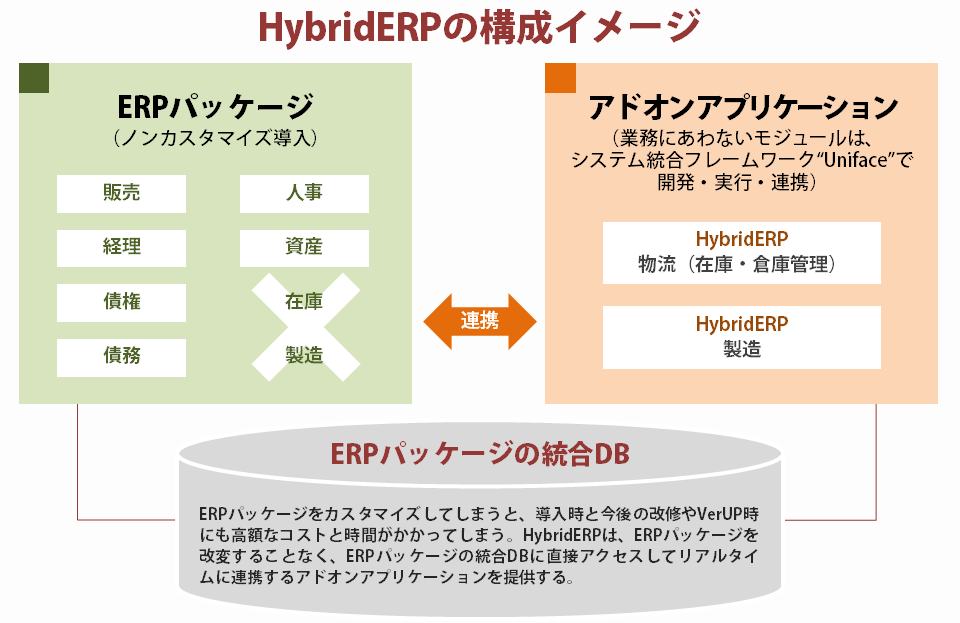 HybridERPの構成イメージ ERPをカスタマイズしてしまうと、導入時と今後の改修やバージョンアップ時にも高額なコストと時間がかかってしまう。HybridERPは、ERPパッケージを改変することなく、ERPパッケージの統合データベースに直接アクセスしてリアルタイムに連携するアドオンアプリケーションを提供する。