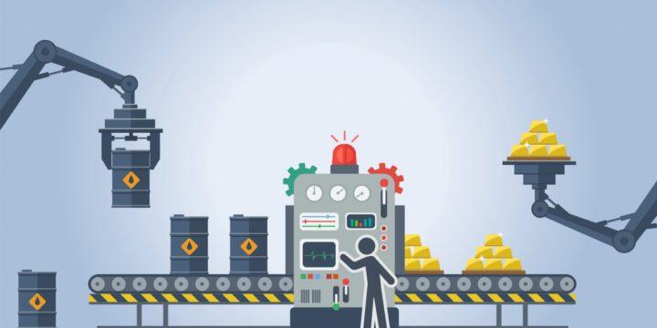 人と機械の働く工場